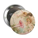 Victorian Fairies Pink Flowers Love Button