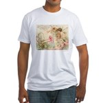 Victorian Fairies Pink Flowers Love Fitted T-Shirt