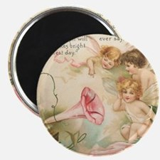 Victorian Fairies Pink Flowers Love Magnet