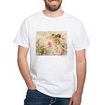 Victorian Fairies Pink Flowers Love White T-Shirt