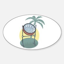 Steel Drum and Palm Tree Oval Decal