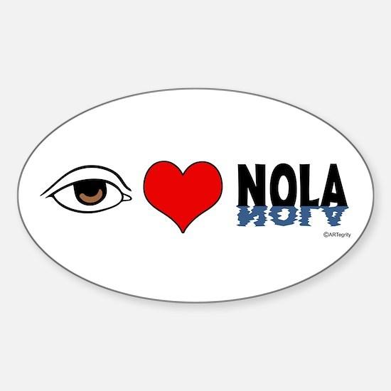 Eye Love NOLA (brown) Oval Decal