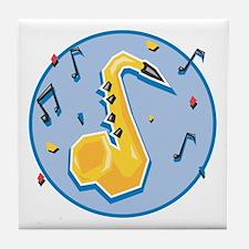 Saxaphone (Sax) and Music Notes Design Tile Coaste