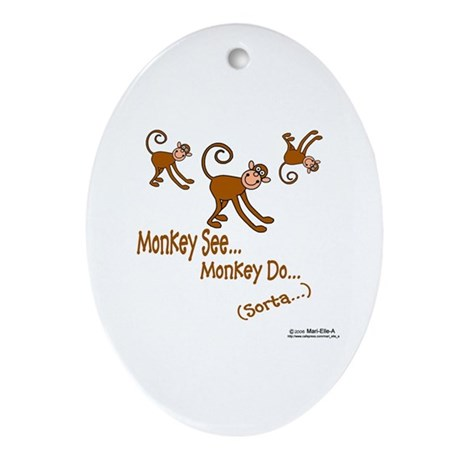 Monkey See Oval Ornament