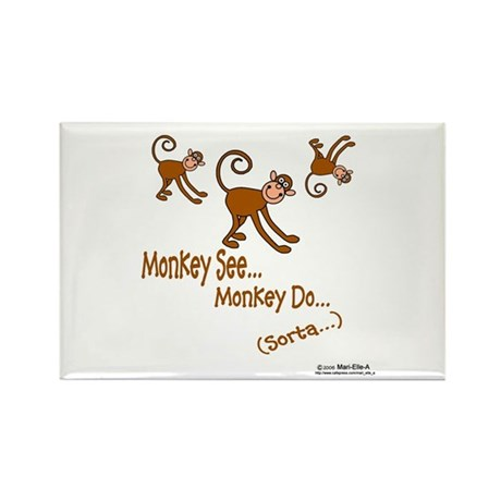 Monkey See Rectangle Magnet