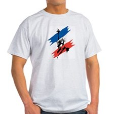 Blue & Red Liberty Ash Grey T-Shirt