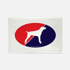 US Flag Mountain Cur Rectangle Magnet