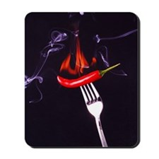 A red chili on a fork Mousepad