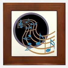 Music Notes Circle Framed Tile
