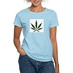 Marijuana Leaf Green Women's Pink T-Shirt