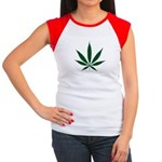 Marijuana Leaf Green Women's Cap Sleeve T-Shirt