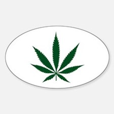 Marijuana Leaf Green Oval Decal