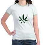 Marijuana Leaf Green Jr. Ringer T-Shirt