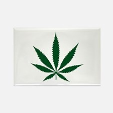 Marijuana Leaf Green Rectangle Magnet