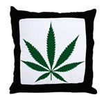 Marijuana Leaf Green Throw Pillow