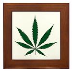 Marijuana Leaf Green Framed Tile