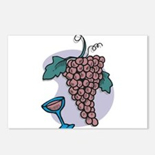 GRAPES AND GLASS Postcards (Package of 8)