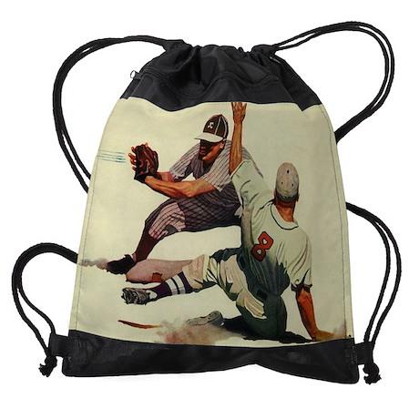 Vintage Sports Baseball Drawstring Bag