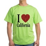 I Love California Green T-Shirt