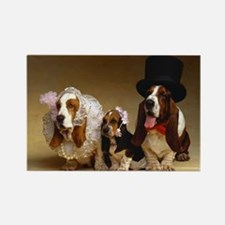 Basset Wedding Rectangle Magnet