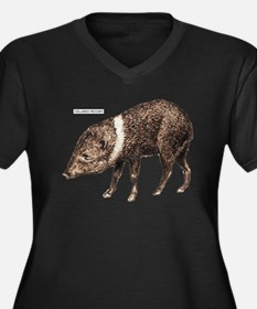 Collared Peccary Animal Women's Plus Size V-Neck D