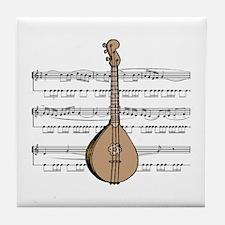 Mandolin and Sheet Music Design Tile Coaster
