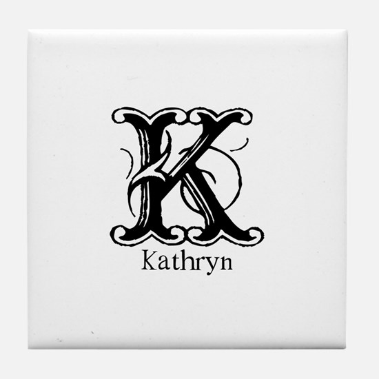 Kathryn: Fancy Monogram Tile Coaster