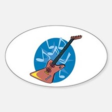 Funky Electric Guitar Oval Decal