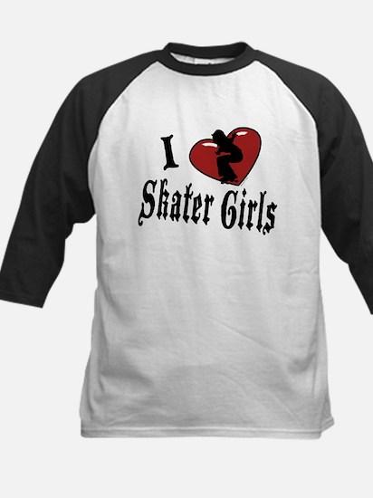 I Heart Skater Girls Kids Baseball Jersey