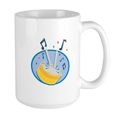 Drum and Music Notes Design Large Mug