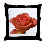 Coral Beauty Rose Throw Pillow