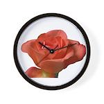 Coral Beauty Rose Wall Clock