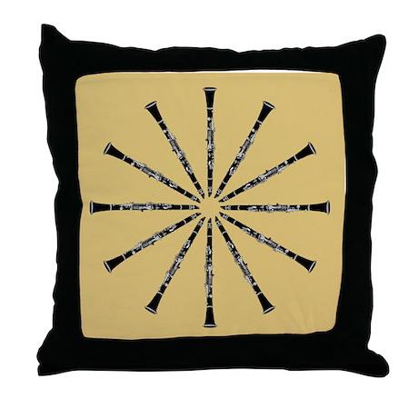 Clarinet Mandala Throw Pillow, Black and Tan