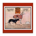 Daschund/Greyhound Vintage Dog Tile Coaster
