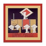 Circus Vintage Dog Tile Coaster