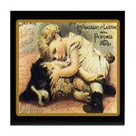 Border Collie & Child Vintage Dog Tile Coaster