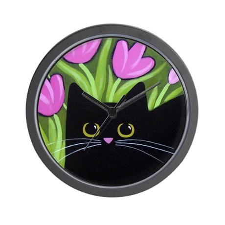 Black CAT & Pink Tulips Wall Clock