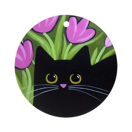 Black CAT & Pink Tulips Collectable Ornament
