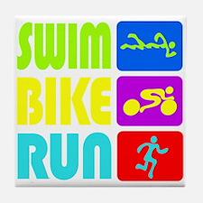 TRI Swim Bike Run Figures Tile Coaster