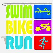 TRI Swim Bike Run Figures Shower Curtain