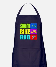 TRI Swim Bike Run Figures Apron (dark)