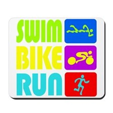 TRI Swim Bike Run Figures Mousepad