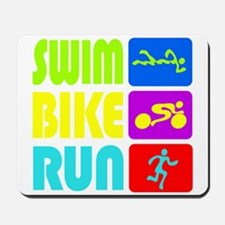 TRI Swim Bike Run Figures Mousepad