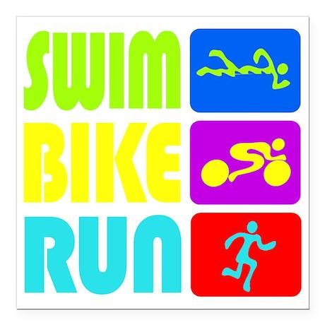 """TRI Swim Bike Run Figures Square Car Magnet 3"""" x 3"""