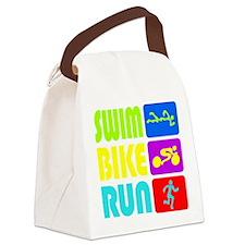 TRI Swim Bike Run Figures Canvas Lunch Bag