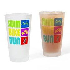 TRI Swim Bike Run Figures Drinking Glass