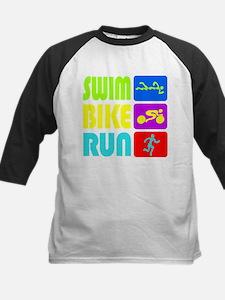TRI Swim Bike Run Figures Baseball Jersey