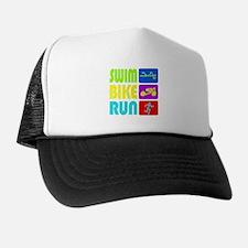 TRI Swim Bike Run Figures Trucker Hat