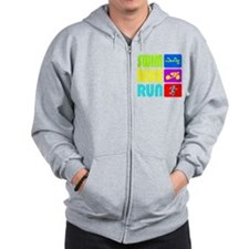 TRI Swim Bike Run Figures Zip Hoodie