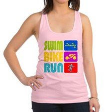 TRI Swim Bike Run Figures Racerback Tank Top